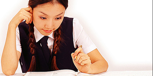 asian girl studying