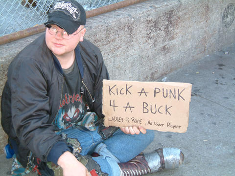 Street Kid Sign Kick Me For A Buck