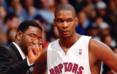 Raptors Basketball Star Chris Bosh with coach Sam Mitchell