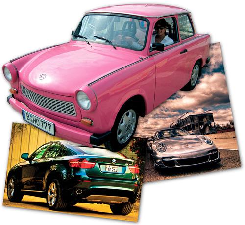 Lorraine Zander in her pink Trabant
