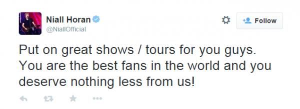 Niall Horan tweet