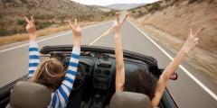 driving convertible. car automobile road trip