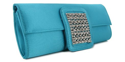 teal prom clutch handbag