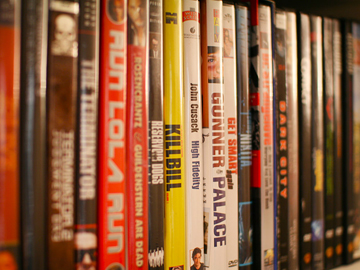 Books DVD Movies on a shelf