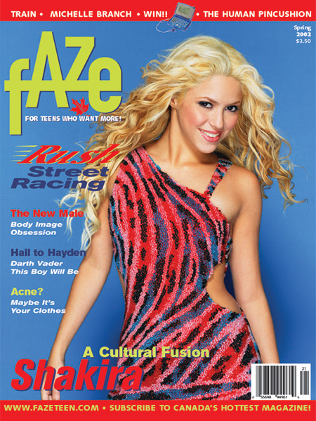 Spring 2002 Shakira on Cover of Faze Magazine