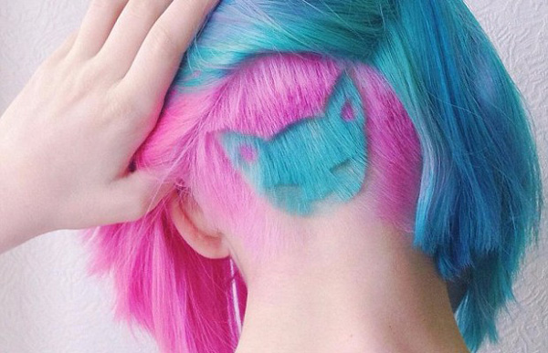 Pink blue dye hair cat design