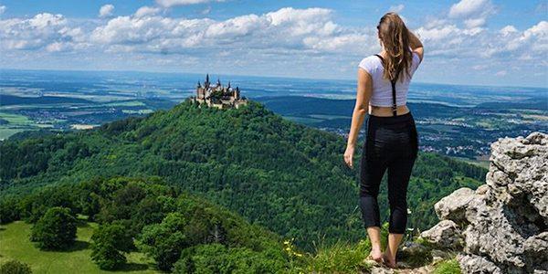 Girl Traveler on Hilltop