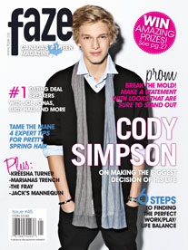 Cody Simpson on cover of Faze Magazine