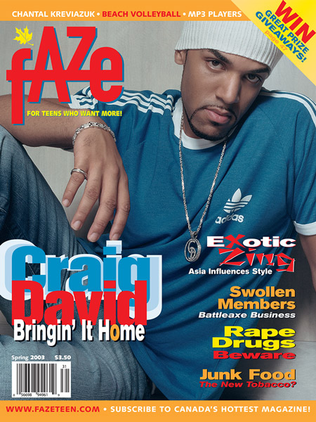 Craig David on the cover of Faze Magazine