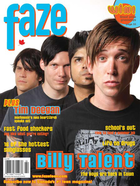 Billy Talent on the cover of Faze Magazine