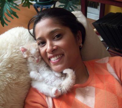 Lorraine with kitten Cashew