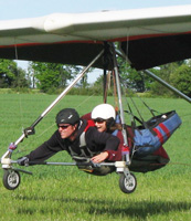 Dana hanggliding with Ryan